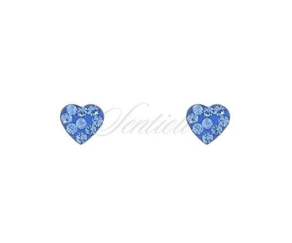 Kolczyki srebrne pr. 925 niebieskie serca