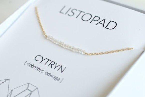 LISTOPAD - naszyjnik pozłacany z cytrynem