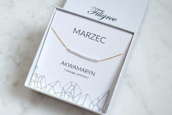 MARZEC - bransoletka pozłacana z akwamarynem