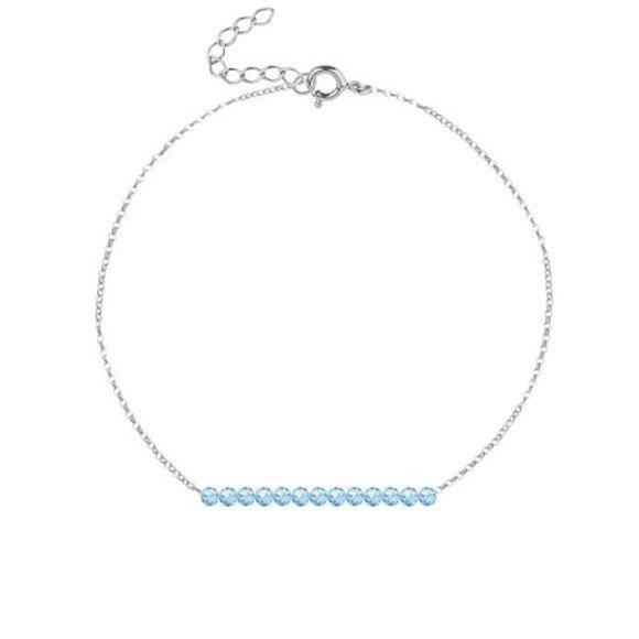 MARZEC - bransoletka srebrna z akwamarynem