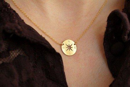 Naszyjnik pozłacany Róża Wiatrów Kompas srebro 925