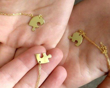 Naszyjnik pozłacany serce z puzzli srebro 925 komplet srebrnych naszyjników dla sióstr, mamy, przyjaciółek