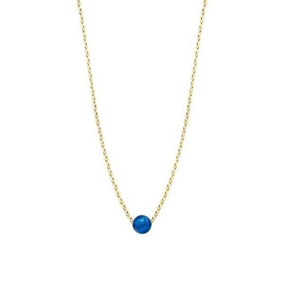 Naszyjnik pozłacany z niebieskim agatem