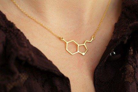 Serotonina naszyjnik pozłacany