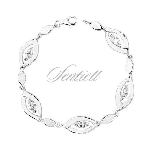 Elegancka klasyczna srebrna bransoletka pr.925 Cyrkonia biała