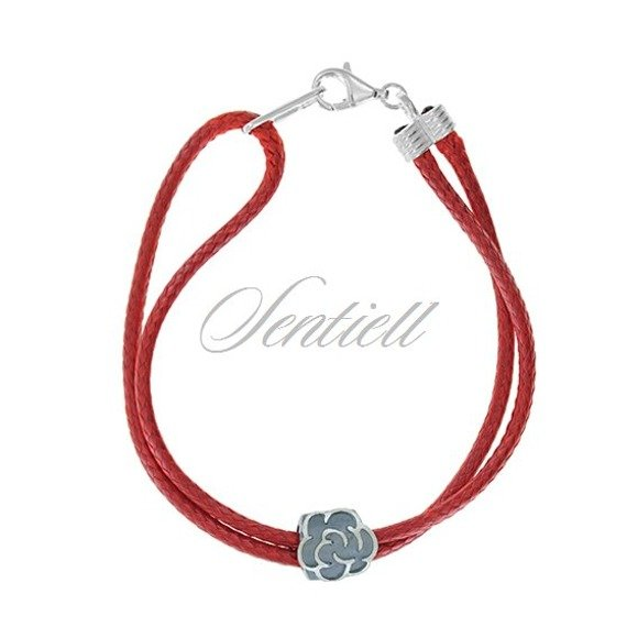 Srebrna bransoletka pr.925 czerwona Kwiatek