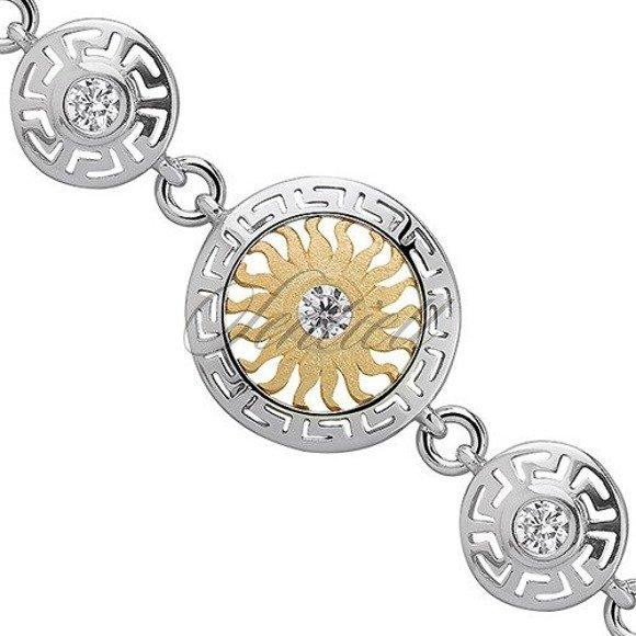 Srebrna pozłacana bransoletka pr.925 słońce z cyrkonią