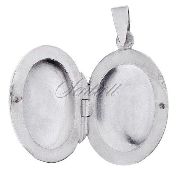 Srebrna zawieszka pr.925 minimalistyczne otwierane owalne puzderko na zdjęcie
