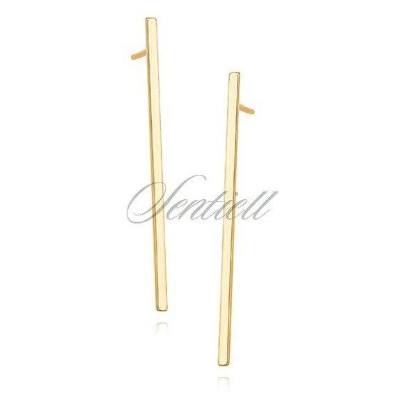 Srebrne pr.925 minimalistyczne długie kolczyki blaszki pozłacane