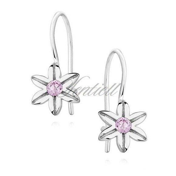 Srebrne kolczyki dla dziewczynki pr 925 małe kwiatki z cyrkonią jasnoróżową