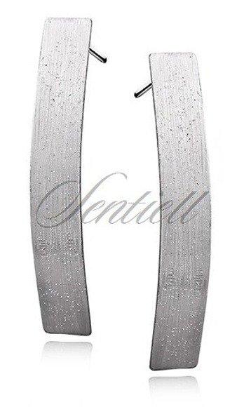 Srebrne kolczyki pr.925 diamentowane szerokie szczotkowane blaszki