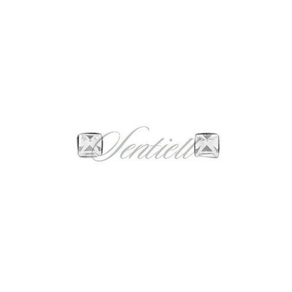 Srebrne pr.925 kolczyki do nosa kwadratowe z cyrkonią w opakowaniu