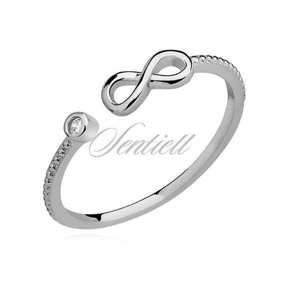 Srebrny minimalistyczny pierścionek pr.925 z białą cyrkonią - Nieskończoność
