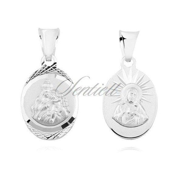 Srebrny diamentowany dwustronny medalik Jezus Matka / Boska Szkaplerzna