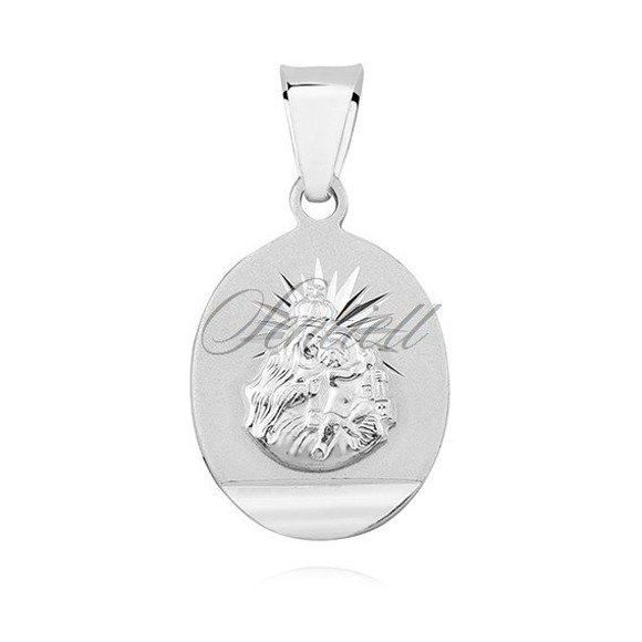 Srebrny dwustronny klasyczny medalik Jezus Matka / Boska Szkaplerzna