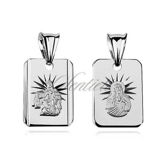 Srebrny prosty medalik dla chłopca Jezus Matka / Boska Szkaplerzna
