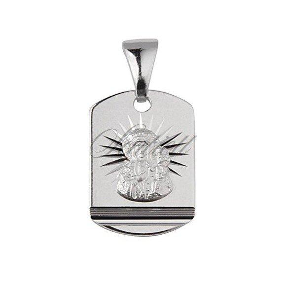 Srebrny medalik dla chłopca Matka Boska Częstochowska