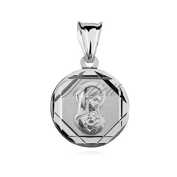 Srebrny okrągły diamentowany medalik Matka Boska Madonna ze zdobieniami