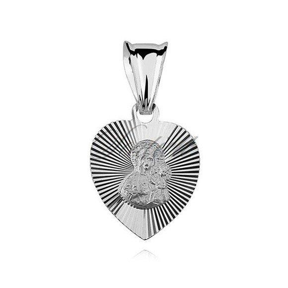 Srebrny medalik serduszko diamentowane Matka Boska Częstochowska