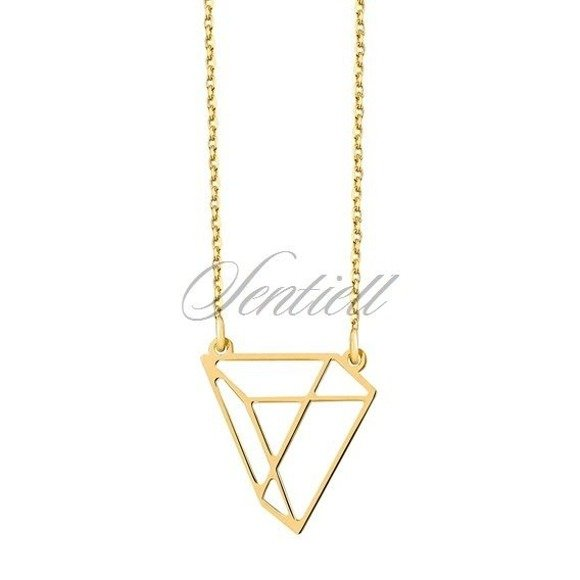 Srebrny naszyjnik pr.925 - Origami trójkąt, pozłacany