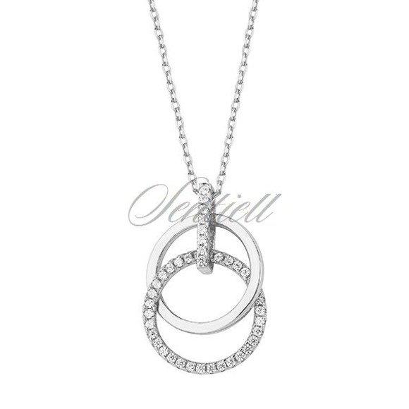Srebrny naszyjnik pr.925 okręgi z cyrkoniamii