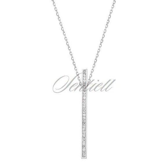 Srebrny naszyjnik pr.925 prostokąt z cyrkoniamii