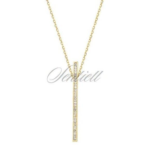 Srebrny naszyjnik pr.925 prostokąt z cyrkoniamii, pozłacany