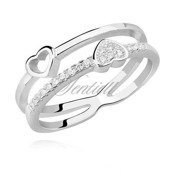 Srebrny pierścionek pr.925 dwa serduszka z białą cyrkonią