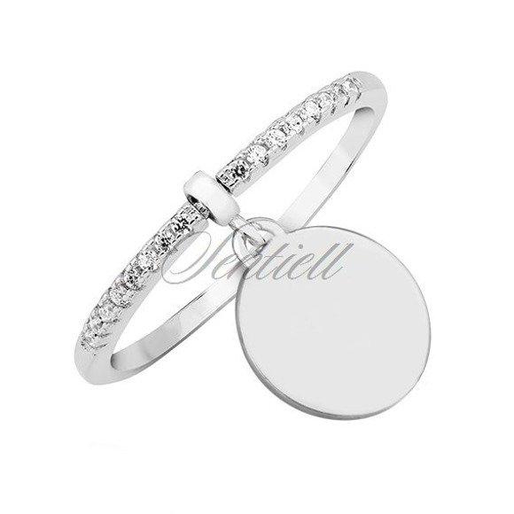 Srebrny pierścionek pr.925 z białą cyrkonią - kółko