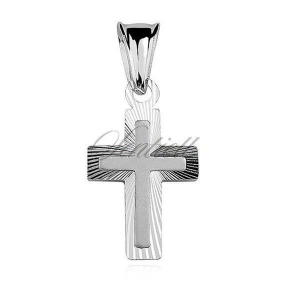 Krzyżyk srebrny diamentowany z satynowanym wzorem pośrodku pr.925