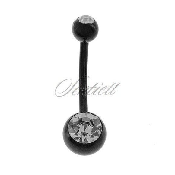 Stalowy (316L) Czarny kolczyk do pępka z kulką - biała cyrkonia